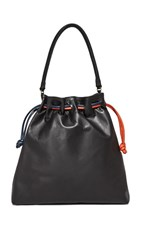 Clare V. Grand Henri Drawstring Bag Black Slate Navy Poppy
