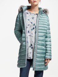 Gerry Weber Hooded Faux Fur Trim Quilted Coat Jade