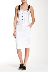 La Belle Roc Faux Leather Strap Denim Overall Dress White