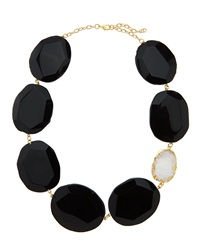 Panacea Oversized Stone And Druzy Station Necklace Black
