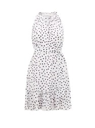 Heidi Klein Santa Margherita Ligure Polka Dot Silk Mini Dress White Print