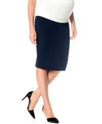 A Pea In The Pod Maternity French Terry Pencil Skirt Navy