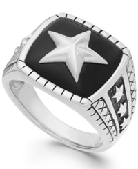 Macy's Men's Onyx Star Ring In Sterling Silver 7 Ct. T.W.
