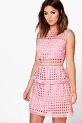 Boohoo Lace Peplum Hem Bodycon Dress Blush
