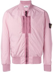 Stone Island Pocket Detail Bomber Jacket Pink Purple