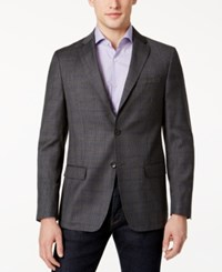 Dkny Men's Slim Fit Gray And Blue Windowpane Sport Coat