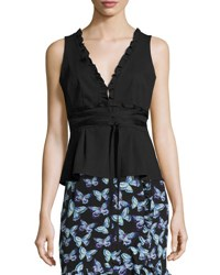 Nanette Lepore Spring Fever Stretch Poplin Wrap Top Black Black Pattern