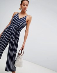 Ax Paris Striped Culotte Jumpsuit Navy
