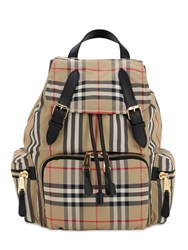 Burberry Medium Checked Nylon Backpack Archive Beige