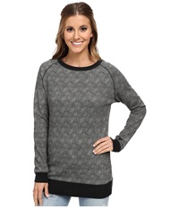 Burton Lexxon Pullover Fleece True Black Floral Stripe Women's Long Sleeve Pullover Gray
