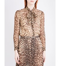 Red Valentino Leopard Print Silk Shirt Nero