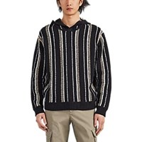 Atm Anthony Thomas Melillo Vertical Striped Cotton Blend Hoodie Wht.Andblk. Wht.Andblk.
