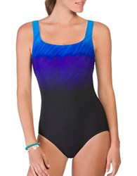 Reebok Scoopneck One Piece Swimsuit Blue