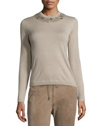 Ralph Lauren Embellished Jewel Neck Cashmere Sweater Oatmeal Women's