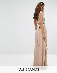 Maya Tall Embellished Maxi Dress With Bow Back Mink Pink