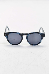 Komono Crafted Clement Blue Tortoise Round Sunglasses Navy