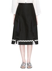 Toga Archives Woven Paper Slit Linen Midi Skirt Black