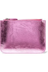 Iris And Ink Metallic Cracked Leather Pouch Pink