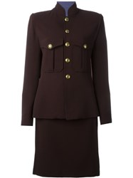 Jean Paul Gaultier Vintage Military Inspired Skirt Suit Brown