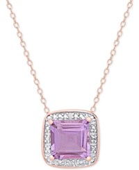 Macy's Amethyst 1 5 8 Ct. T.W. And Diamond Accent Pendant Necklace In 18K Rose Gold Plated Sterling Silver