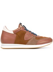 Philippe Model Mesh Panelled Sneakers Men Cotton Calf Leather Leather Rubber 43 Brown