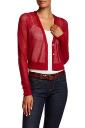 Tommy Bahama Anacapa Crop V Neck Linen Blend Cardigan Red