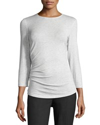 Lafayette 148 New York 3 4 Sleeve Ruched Tee Ice Melange