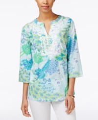 Charter Club Petite Printed Embroidered Tunic Only At Macy's Angel Blue Combo