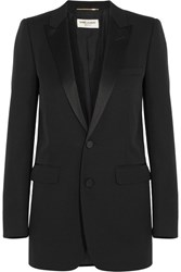 Saint Laurent Satin Trimmed Wool Tuxedo Blazer Black