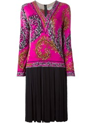Emilio Pucci Vintage Foliage Print Pleated Dress Pink And Purple