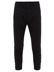 Ann Demeulemeester Cropped Buttoned Ankle Stretch Jersey Trousers Black
