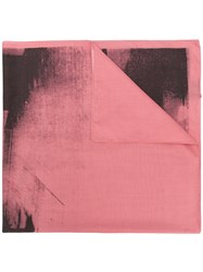 Calvin Klein 205W39nyc Paint Like Printed Scarf Pink And Purple