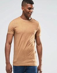 Asos Longline Muscle T Shirt With Oil Wash In Camel Camel