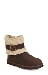 Women's Ugg Australia 'Cassidee' Cable Knit Boot Chocolate Leather