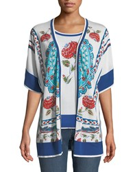 Escada Open Front Short Sleeve Floral Print Cardigan White