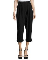 Michael Kors Cropped Pleat Front Virgin Wool Carrot Pants Black