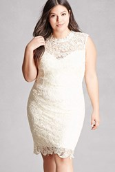 Forever 21 Plus Size Soieblu Crochet Dress Cream