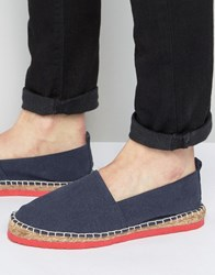 Asos Espadrilles In Navy Faux Suede With Contrast Red Sole Navy