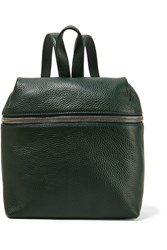 Kara Small Textured Leather Backpack Forest Green