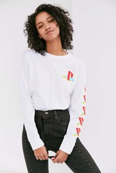 Urban Outfitters Playstation Long Sleeve Tee White