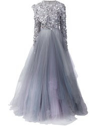 Christian Siriano Sequinned Tulle Gown Grey