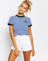 Lazy Oaf Shrunken Retro Striped T Shirt With Whale Print Blue