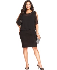 R And M Richards Plus Size Split Sleeve Pleat Dress Black