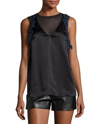 3.1 Phillip Lim Sleeveless Lace Trim Satin Slip Top Black