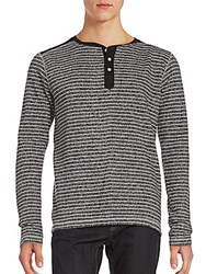 Vintage Long Sleeve Striped Henley Tee Midnight