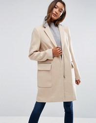 Asos Coat In Classic Fit With Contrast Collar Camel Stone