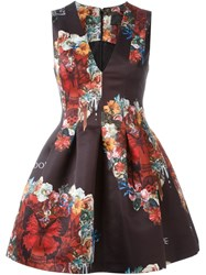 Philipp Plein Floral And Butterfly Print Dress Black