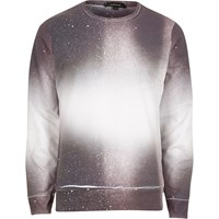 River Island White And Red Paint Splatter Faded Sweater