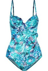 La Perla Open Back Ruffle Trimmed Floral Print Underwired Swimsuit Turquoise
