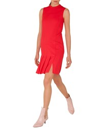 Akris Punto Sleeveless Crewneck Wool Shift Dress With Pleated Front Red